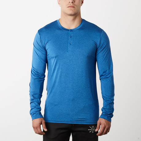 Mako Long-Sleeve Fitness Tech Henley // Blue (S)