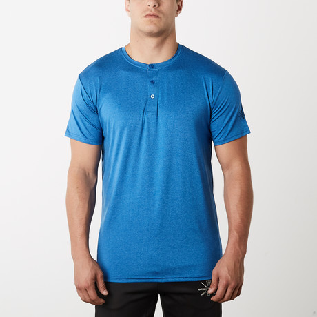 Spar Fitness Tech Short-Sleeve Henley // Blue (S)