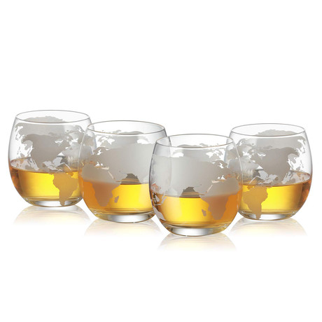 Etched World Globe Glasses // Set of 4 // 12 Oz.