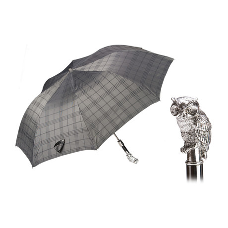 Silver Owl Folding Umbrella