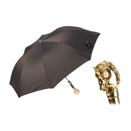 Folding Umbrella // Gold Horse Handle