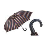 Striped Folding Umbrella // Leather Handle