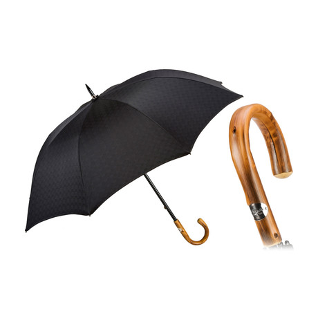 Black Sturdy Umbrella // Chestnut Handle