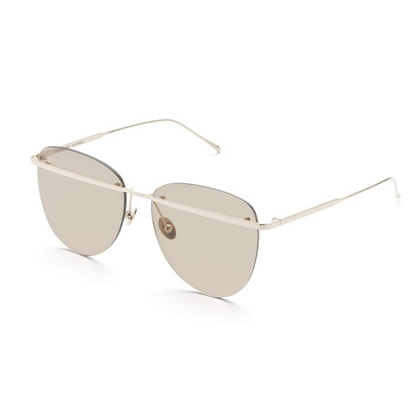 Women's Aviator Sunglasses // White Gold + Tan