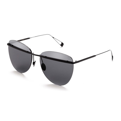 Women's Aviator Sunglasses // Black + Gray