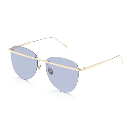Women's Aviator Sunglasses // Gold + Transparent Purple