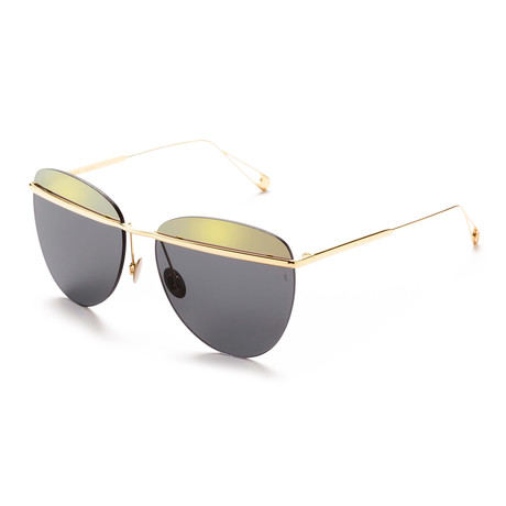 Women's Aviator Sunglasses // Gold + Gold + Black