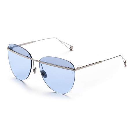 Women's Aviator Sunglasses // Silver + Sky Blue