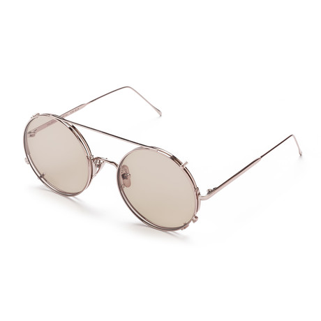 Unisex Round Sunglasses // Pink Gold + Brown