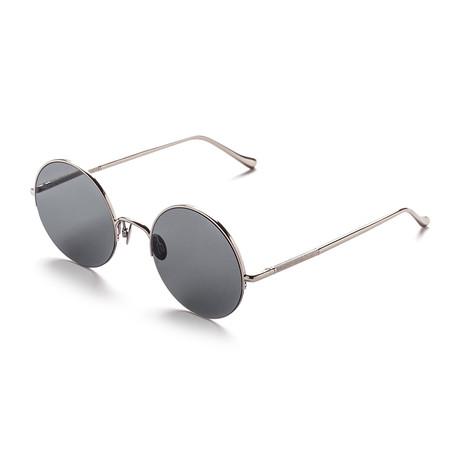Unisex Round Sunglasses // Silver + Gray