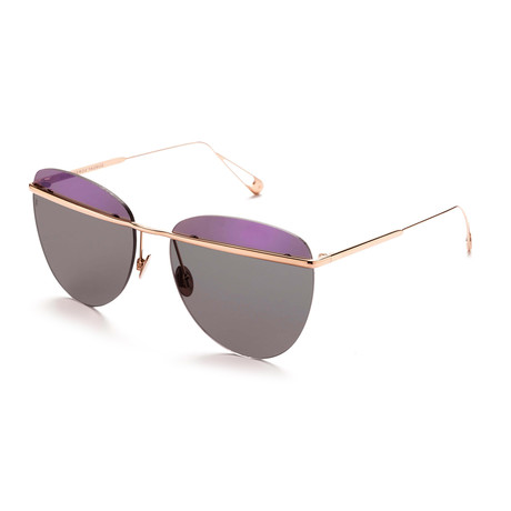 Women's Aviator Sunglasses // Rose Gold + Purple + Black