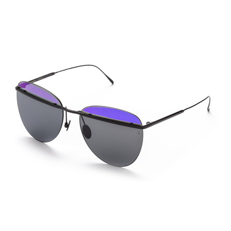 Women's Aviator Sunglasses // Black + Purple + Black