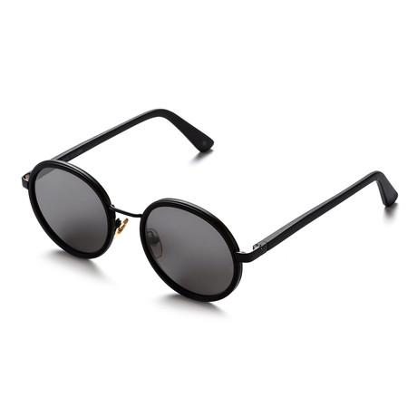 Unisex Round Sunglasses // Matte Black + Black Mirror