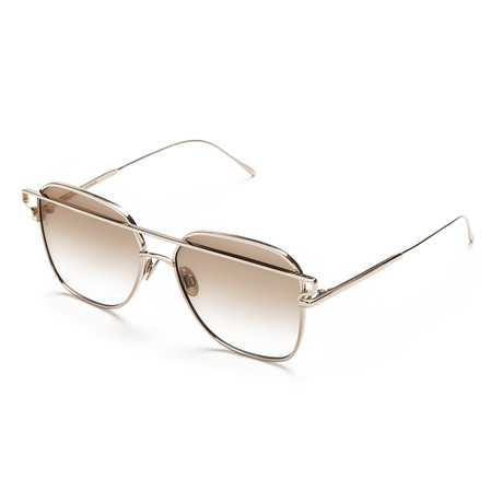Women's Square Sunglasses // White Gold + Brown