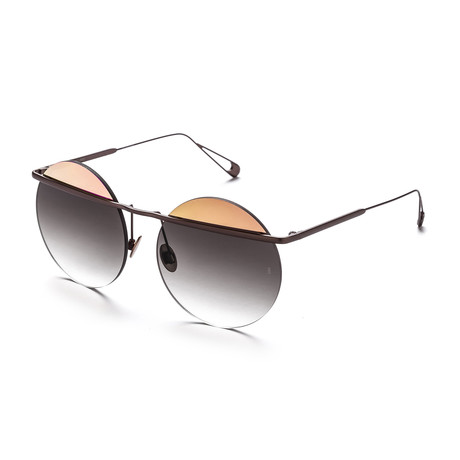Women's Round Sunglasses // Rose Gold + Brown + Gray
