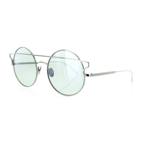 Women's Round Sunglasses // Silver + Green