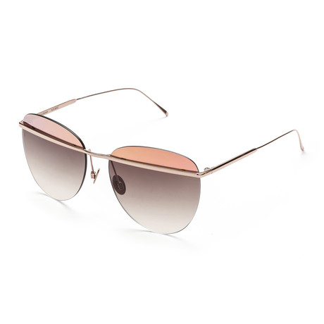 Women's Aviator Sunglasses // Rose Gold + Brown