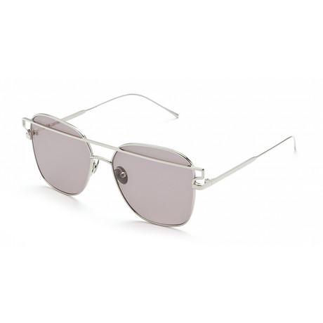 Women's Square Sunglasses // Silver + Gray