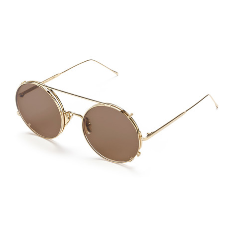 Unisex Round Sunglasses // Gold + Brown