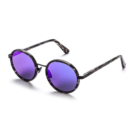 Unisex Round Sunglasses // Black Glitter + Purple + Blue
