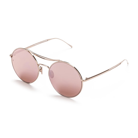 Unisex Round V1 Sunglasses // Rose Gold + Pink