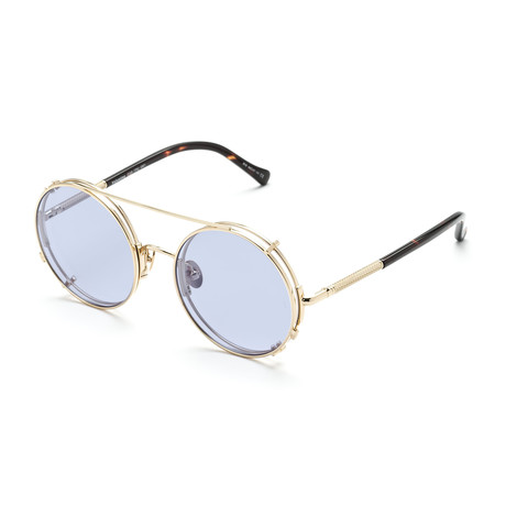 Unisex Round Sunglasses // Gold + Transparent Purple