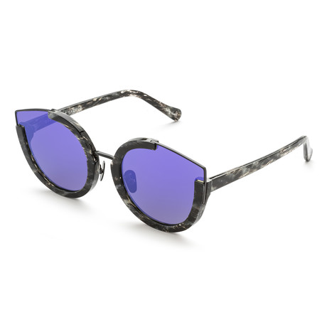 Women's Cat-Eye Sunglasses // Black Glitter + Purple