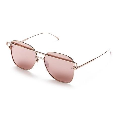 Women's Square Sunglasses // Rose Gold + Pink