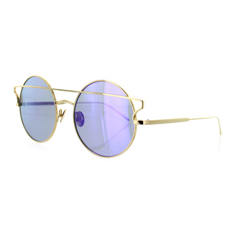 Women's Round Sunglasses // Yellow Gold + Purple