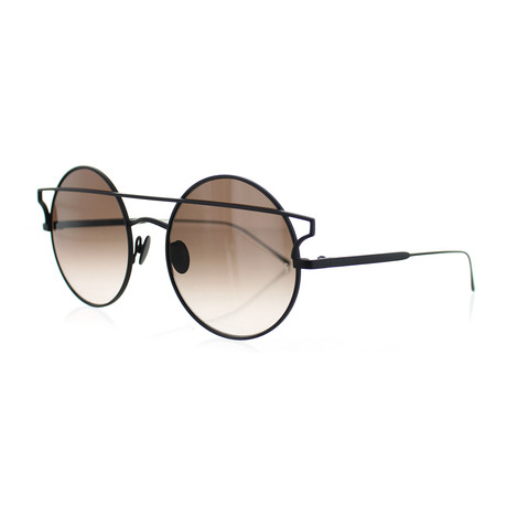 Women's Round Sunglasses // Black + Brown Gradient