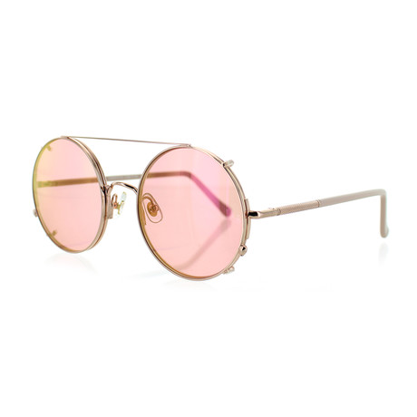Unisex Round V3 Sunglasses // Rose Gold + Pink