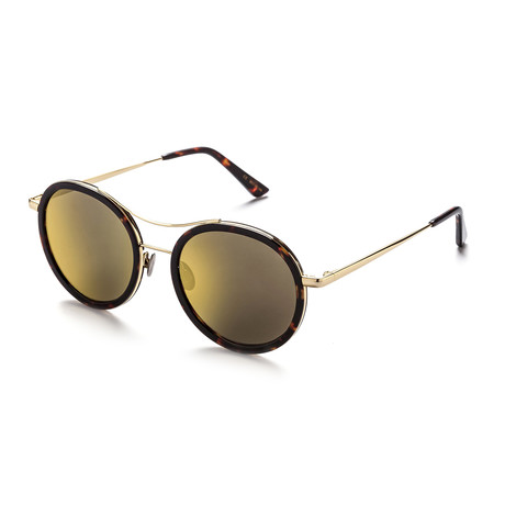 Unisex Round Sunglasses // Dark Chocolate Tortoise + Gold