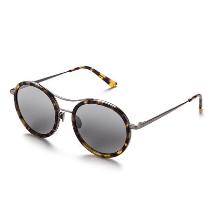 Unisex Round Sunglasses // Marble Demi + Gray