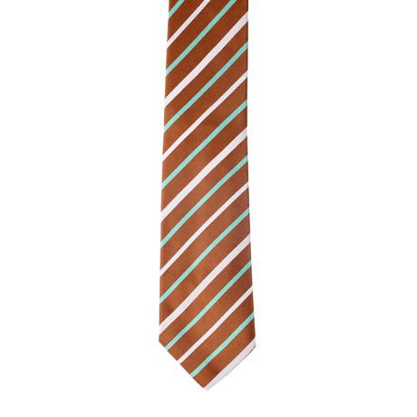 Isaia // Striped Tie V1 // Brown + Multicolor
