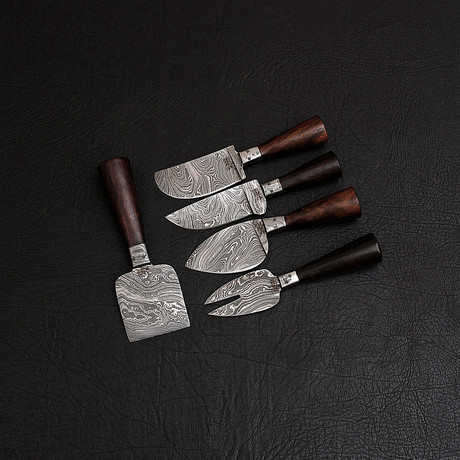 Damascus Cheese Knife // 5 Piece Set