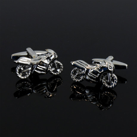 Exclusive Cufflinks + Gift Box // Silver Motorbikes