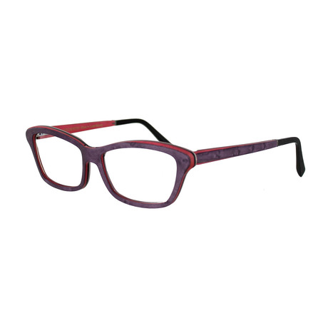 Gold & Wood // Women's Rectangle Optical Frames // Purple + Fuchsia