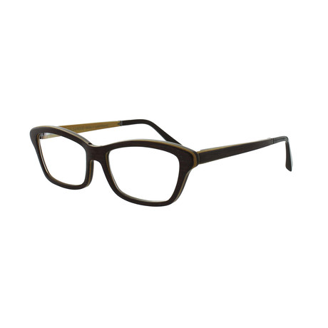Gold & Wood // Women's Rectangle Optical Frames // Walnut Brown + Yellow