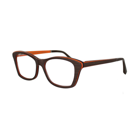 Gold & Wood // Women's Square Optical Frames // Tanganyika + Flashy Orange