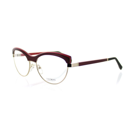 Gold & Wood // Unisex Cat-Eye Optical Frames // Champagne Gold + Burgundy