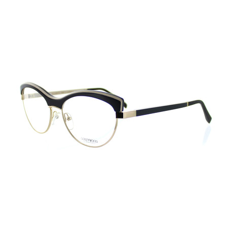Gold & Wood // Unisex Cat-Eye Optical Frames // Black + Gold