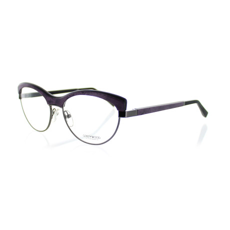 Gold & Wood // Unisex Cat-Eye Optical Frames // Ruthenium + Purple Bird's Eye