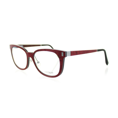 Gold & Wood // Unisex Cat-Eye Optical Frames // Burgundy Bird's Eye Maple + Ebon