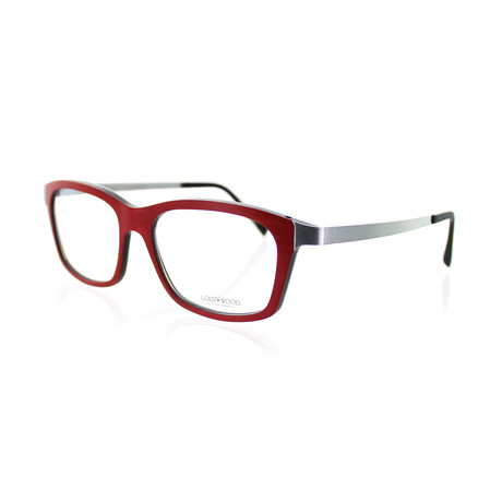 Gold & Wood // Unisex Square Optical Frames // Red Tanganyika + Ebony Tanganyik