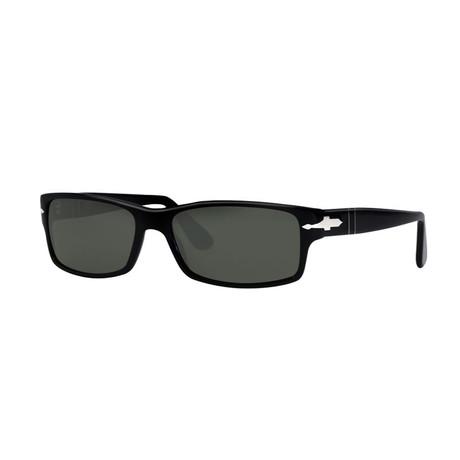 Persol // Men's Rectangle Polarized Sunglasses // Black + Green