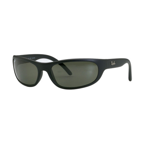 Men's Polarized Rectangular Frame // Matte Black + Polar Green