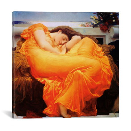 "Flaming June // Frederic Leighton (12""W x 12""H x 0.75""D)"