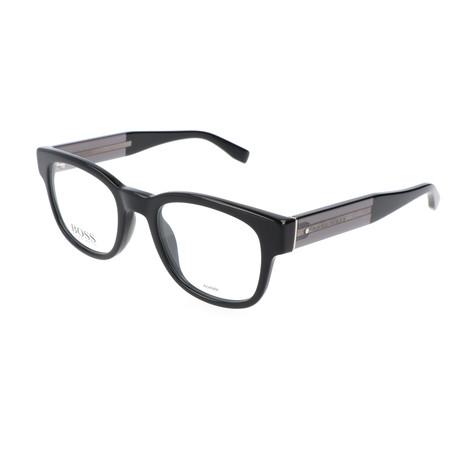 Men's 738-K8X Optical Frames // Black + Dark Gray + Leather Black