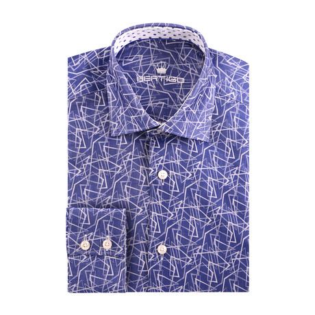 Abstract Triangle Print Long Sleeve Shirt // Navy Blue (S)
