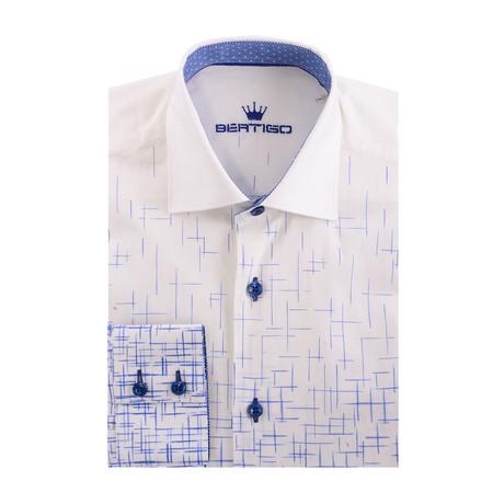 Poplin Geometric Gradient Print Long Sleeve Shirt // White (XS)